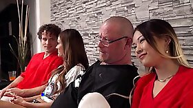 Cathy Crown in a double creampie for her happy family