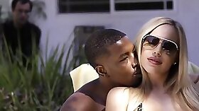 Big black hoe pounded by white husband in bed
