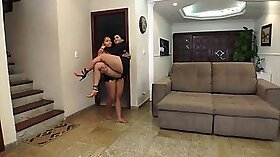 Brazilian lesbians enjoy rimming each other with dildos
