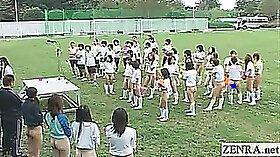 Two hot Japanese schoolgirls jizzed on her outdoor