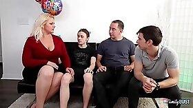 Busty blonde BBW banged on porn party with pawnlifter in the bedroom