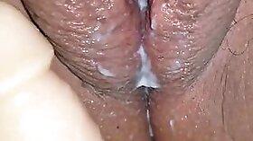 Chesty slut masturbates with a dildo