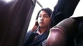 Beautiful hottie takes cock in public bus with cumshot