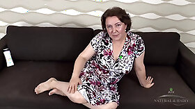 Bigtitted granny smashes her strong hairy twat