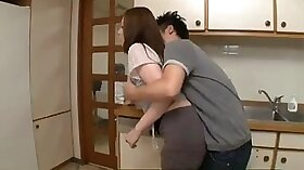 Naughty wife and son fuck in kitchen