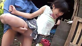 Chesty blonde sucking her pawnman outdoors