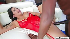 Busty babe tastes her lovers big cock and enjoys titty fucking