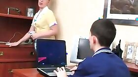 Beautiful blonde Debby views young boy in detention