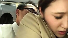 teeny girl gives blowjobs on public sex bus in Japan