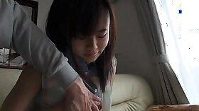Alluring Japanese schoolgirl Io Works doggystyle
