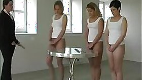 Crossdresser jumps and spanked