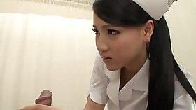 Busty Japanese nurse likes to eat holes hard