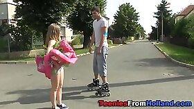 Cute teen outdoor jizz