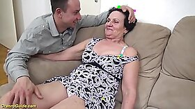 Caucasian granny Leona Zew offers her rod