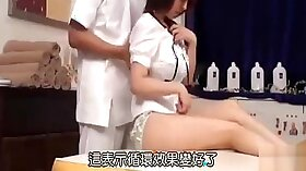 Cute and gorgeous Japanese girlie Leda gives a slo-mo in massage