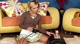 A hot blonde taking a ride on a fucking machine