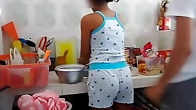 Brother and sister fuck session set in the kitchen