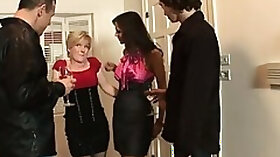 Swingers get together with friends for a bisexual foursome