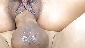 Hairy cunt hottie fucked in a cowgirl position