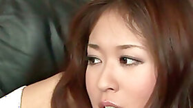 Wondrous oriental hooker Risa Misaki sucks a hot dick and takes it into her twat