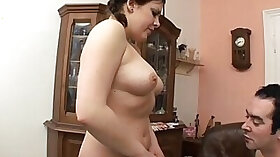 Stacked stepdaughter showing her pussy to daddy