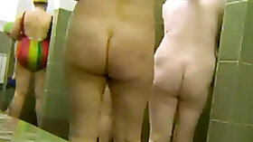 Old chubby chicks going wild in a shower room