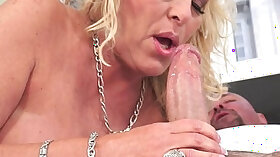 Curvy brunette grandmother riding long thick cock