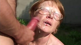Covering my granny with her cum