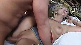 Blonde mature sucks and tits fucked in threeway