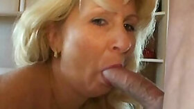 Amazing milf doing blowjob and getting fucked on a table