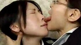 Asian Lesbian kiss xxx Liza and Glen hammer the bases with Mark