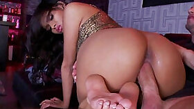 Brunette babe gives me head and foot job